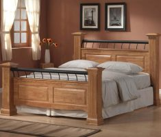 double wooden bed frames top above