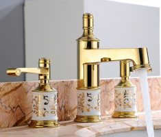 elegant gold vessel sink faucets design