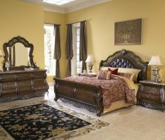 elegant queen bedroom sets with carving wooden materials
