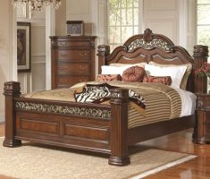elegant wooden bed frames with wood carving
