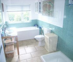 enchanting bathroom for small space with blue and white schemed
