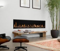 enchanting modern living area with long propane fireplaces