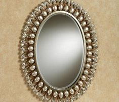 enchanting royal oval bathroom mirrors with pearl frame