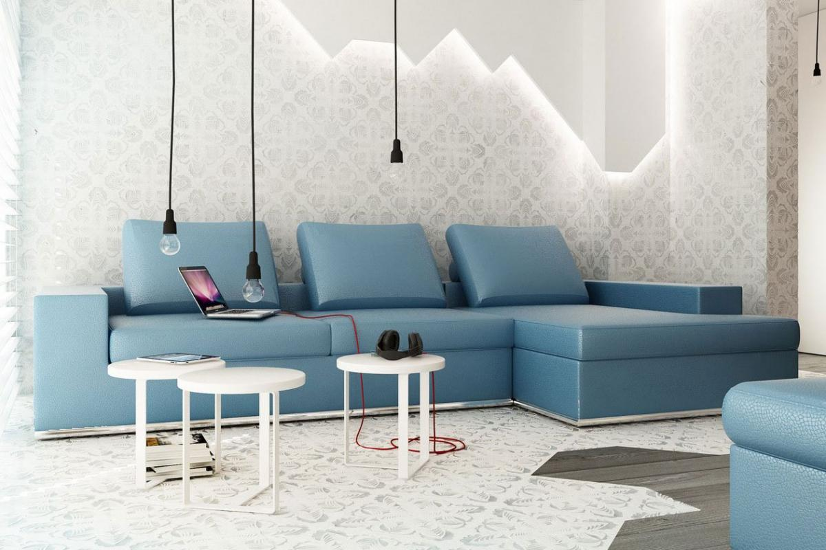 Enchanting simply blue living room sofa furniture for for Sofas for small rooms