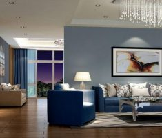 fabulous modern living room with blue living room sofa and wall decor combined with hanging chandeliers