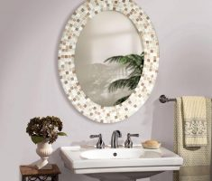 fancy oval bathroom mirrors with tiles framing