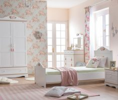 feminim small double bed for small bedroom for girl with flower wall decorations