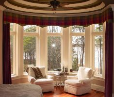five windows with red curtain for window treatments for bay windows suit
