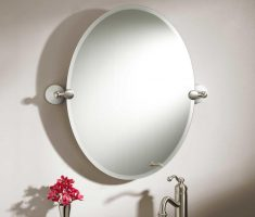 frameless modern oval bathroom mirrors