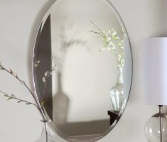 frameless oval bathroom mirrors for minimalist decor