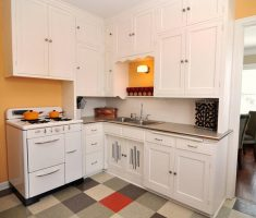 full white wooden small kitchen cabinet for small kitchen design