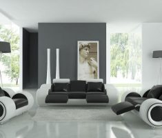 futuristic living room with black and white unique accent chairs for living room