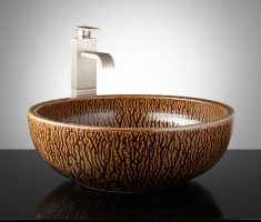 gorgeous vessel sink faucets design with rock style