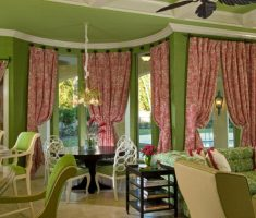 green living room with window treatments for bay windows suit