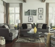 grey arm sofa with waves line accent chairs for living room