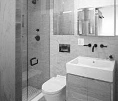 grey schemed bathroom for small space