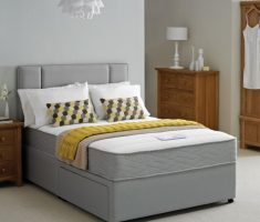 grey small double bed for small bedroom with mattress and drawer