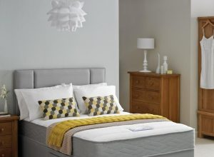 grey-small-double-bed-for-small-bedroom-with-mattress-and-drawer