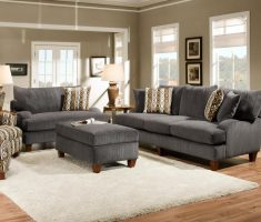 grey sofa set with unique pattern pillow for ascent living room