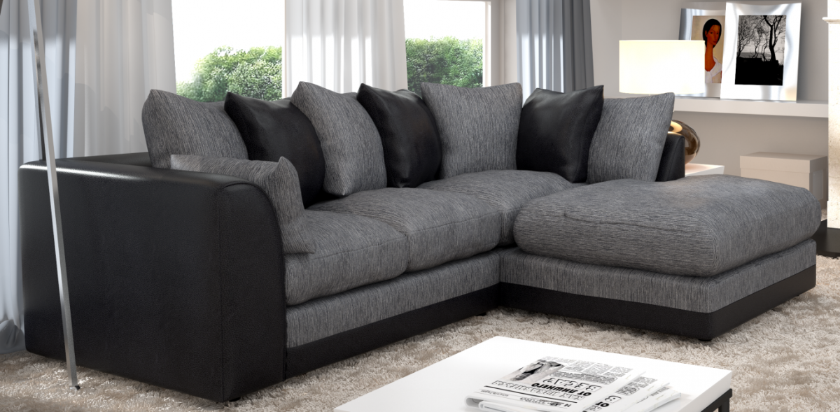 Grey and black corner black sofa for living room home for Black corner sofa