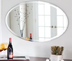 hrorizontal oval bathroom mirrors with thin framed