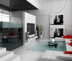 interesting black white grey modern living room design