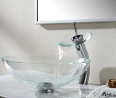 kraus clear glass vessel sink faucets design
