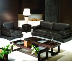 leather black sofa for living room