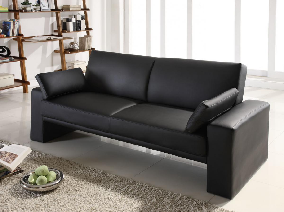 leather black sofa for living room for modern apartement
