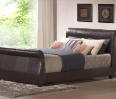 leather material for small double bed for small bedroom