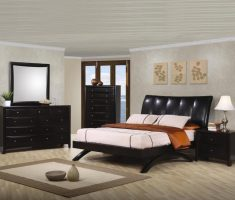 leather queen bedroom sets with white mattress for minimalist master room