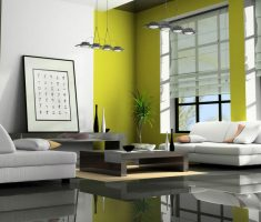 lime green and white modern interior design schemed