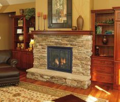 living country style with rustic propane fireplaces