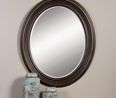 lux oval bathroom mirrors with metal framing