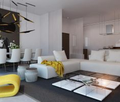 luxurious white living room with white sofa and unique yellow accent chairs for living room with dining room in one place