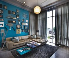 majestic blue wall decor for apartment living room
