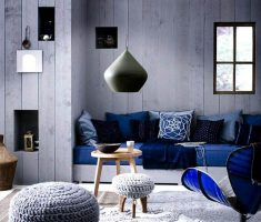 masculine blue living room sofa furniture with grey wall and rug for men living room