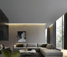 masculine living room for men apartment with grey accent chairs for living room