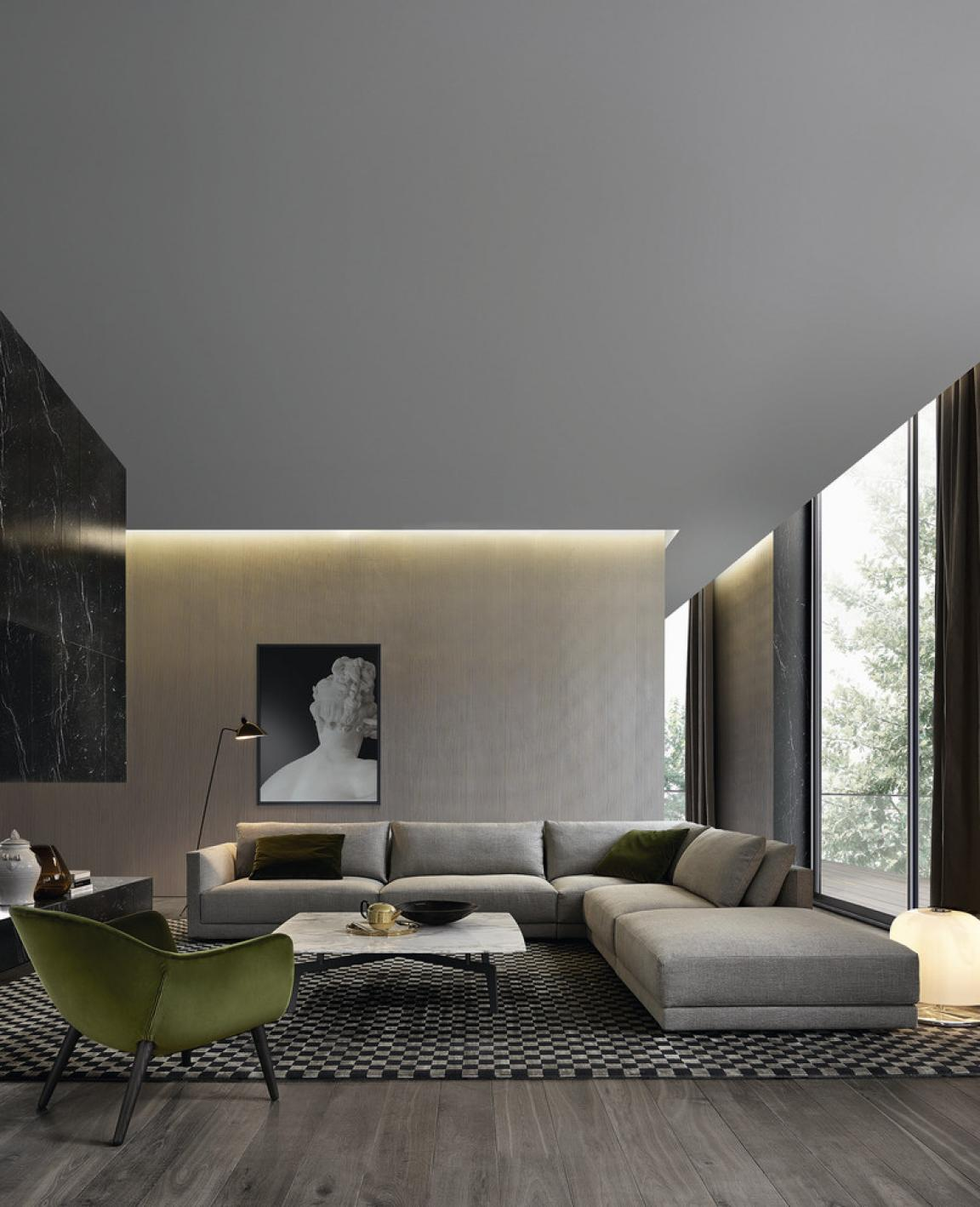 the masculine living room with grey sofas and stylish furnishings   masculine-living-room-for-men-apartment-with-grey-accent ...