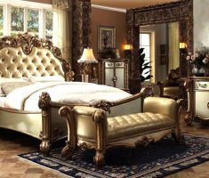 master room with golden queen bedroom sets country carving