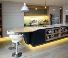 mesmerizing kitchen lighting with yellow neon light under table with storage and minimalist chandelliers
