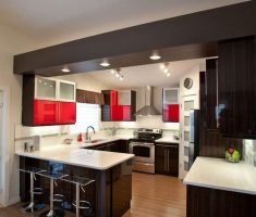 mini u shaped kitchen for small space with lighting