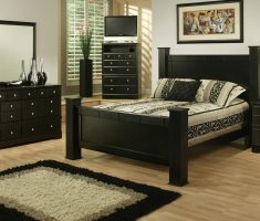 minimalist black queen bedroom sets with floral mattress patternd and wooden black cabinet storages