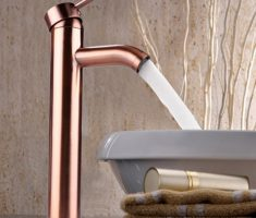 minimalist gold rose vessel sink faucets design