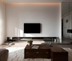 minimalist modern living room design with wooden coffee table and white rug