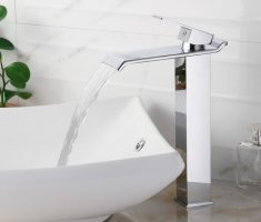 minimalist straight chrome metal vessel sink faucets design
