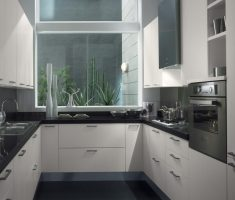 minimalist u shaped kitchen for small space