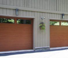 minimalist wooden raynor garage doors inspirations with glass window on top