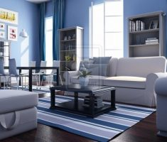 modern blue living room decor with blue curtain and walls