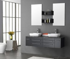 modern hanging vanity mirrors for bathroom with twin small mirror